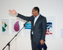 "Curator Okwui Enwezor, member of Deutsche Bank's Global Art Advisory Counci, at the presentation of Yto Barrada as the Deutsche Bank's ""Artist of the Year"" 2011"