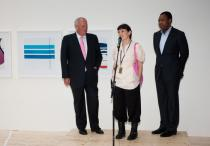 "Pierre de Weck, member of Deutsche Bank AG's Executive Committee, ""Artist of the Year"" Yto Barrada and curator Okwui Enwezor"