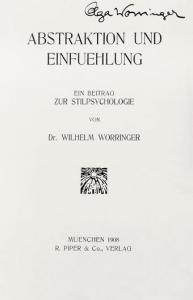 Cover of �Abstraktion und Einf�hlung� (Munich: Piper & Co., Verlag, 1908). This copy