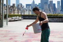 Imran Qureshi creating his site-specific work for The Roof Garden Commission project