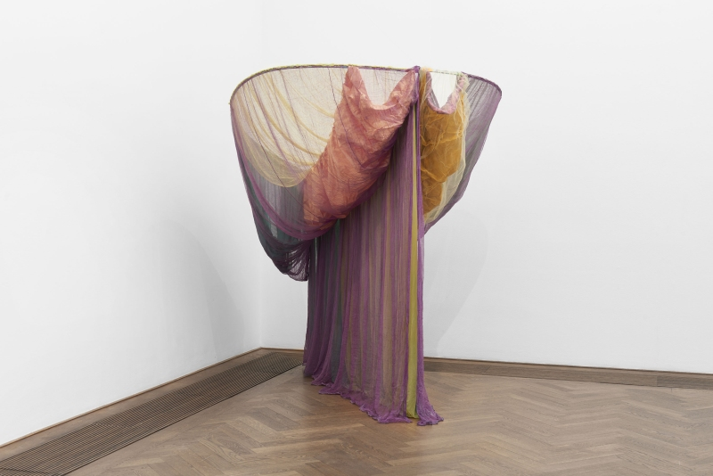 Rosemary Mayer, Galla Placidia, 1973, installation view, Bizarre Silks, Private Imaginings and Narrative Facts, etc., Kunsthalle Basel, 2020. © Estate of Rosemary Mayer. Photo: Philipp Hänger / Kunsthalle Basel