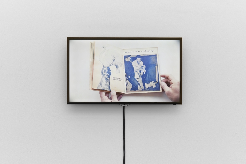 Video documentation of Ray Johnson's artist book Ray Gives a Party, ca. 1955, installation view, Bizarre Silks, Private Imaginings and Narrative Facts, etc., Kunsthalle Basel, 2020. Photo: Philipp Hänger / Kunsthalle Basel