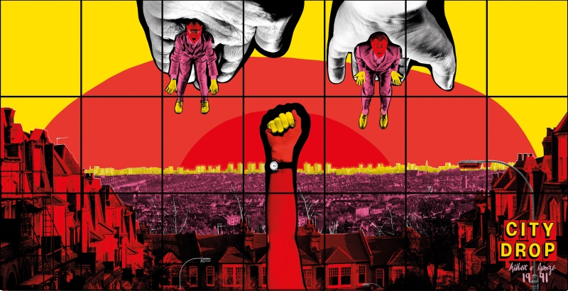 Gilbert & George, CITY DROP, 1991. Courtesy of Gilbert & George